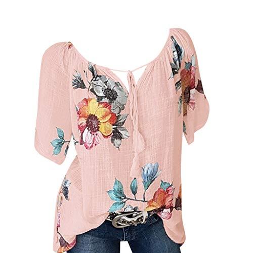 Summer Loose Casual Short Sleeve Floral Chiffon Tops T-Shirt Blouse,LYNStar✔ Women's Fashion V Neck Lace up Tops Tee Orange ()