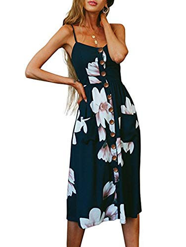 SWQZVT Women's Dress Summer Spaghetti Strap Sundress Casual Floral Midi Backless Button Up Swing Dresses with Pockets Dark Blue Floral ()