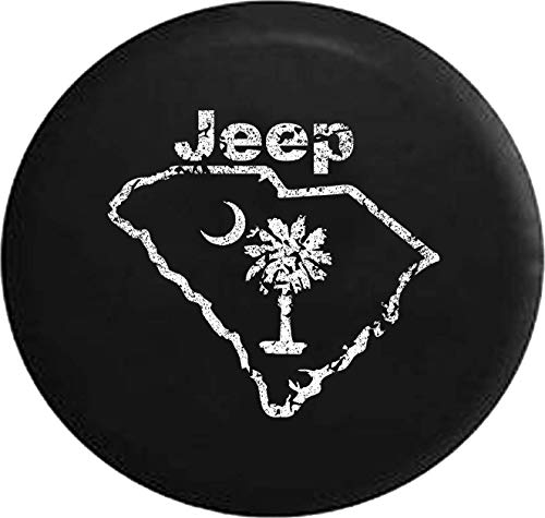 Jeep Tire Cover for Spare Tire Distress South Carolina Palm Moon Black 32 Inch