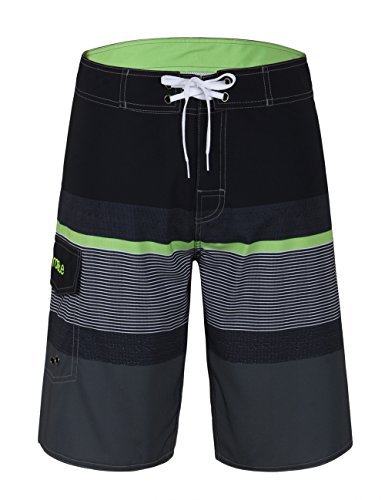 Nonwe+Men%27s+Sportwear+Quick+Dry+Swim+Trunks+With+Lining+Black%26Gray+30
