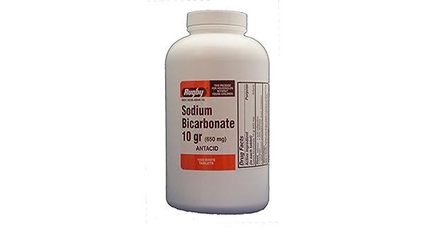 Rugby Sodium Bicarbonate 10 grains tablets relieve heartburn, antacid - 1000 ea: Amazon.es: Salud y cuidado personal