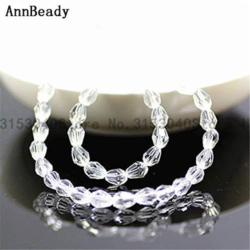 White Rice Pearl Swarovski Crystal - Calvas 70pcs Coffee ab Color 57mm Teardrop Crystal Glass Beads Loose Spacer Beads DIY Making Jewelry Waterdrop Austria Crystal Beads - (Color: White)