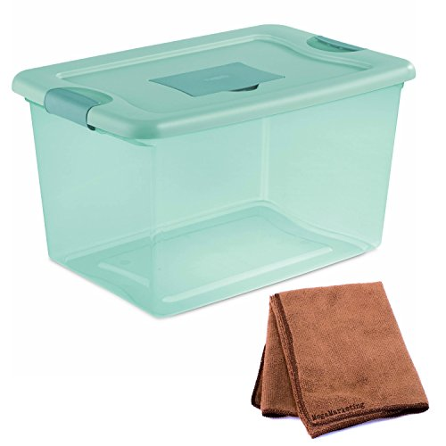 NEW! Sterilite 6-Piece 64-Quart Fresh Scent Storage Box Organizer with Lid and Latch in Aqua Tint with Cleaning Cloth