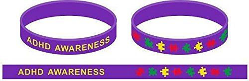 ADHD Awareness Puzzle Pieces Silicone Bracelets Wristbands - Various Quantities by Mammoth Sales (25 PC) ()