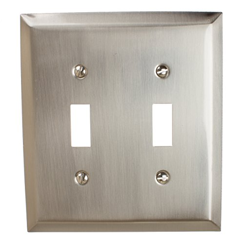 GlideRite Hardware Wall Plate Cover for Toggle Light Switches – Steel 2-Gang Square Beveled Receptacle for Kitchen, Bath, or Living Rooms (Double Toggle, Brushed Nickel) (Light Two Square Bath)