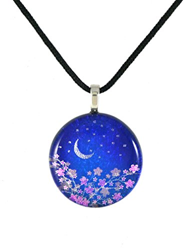 Etching Dichroic Glass - Moonlight Flowers American-Made Dichroic Art Glass Pendant, Black Cord Necklace, Adjustable 16-18 Inch