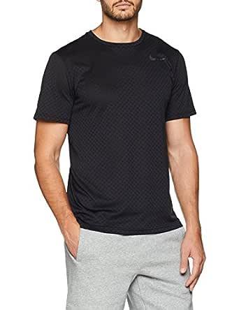Nike Men's Breathe Short Sleeve Top 886742-010, Black/Metallic Hematite, S
