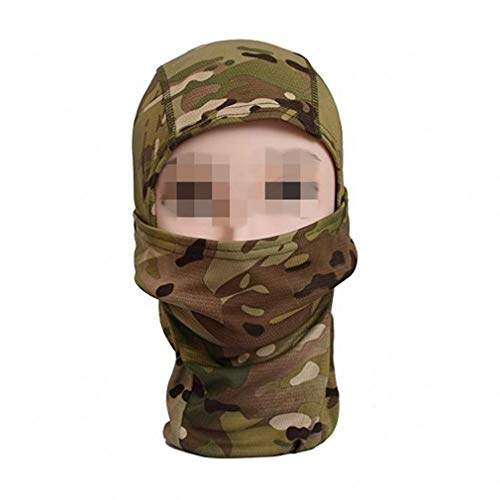 Camo Balaclava Hood Men's Full Face Mask Headwear Outdoor Cycling Motorcycle Hunting Military Tactical Helmet (Brown Python)