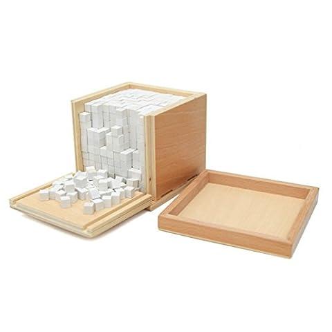 Montessori Materials Volume Box with 1000pcs Cubes White Geometric Assembling Blocks Early Educational (Volume Cubes)
