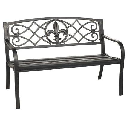 Steel Fleur De Lis Park Bench