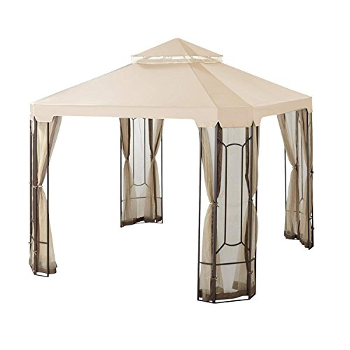 Garden Winds LCM1305B-RS Top Cover for The Cottleville Gazebo-RipLock 350 Replacement Canopy, 10 x 12 Beige by Garden Winds (Image #1)