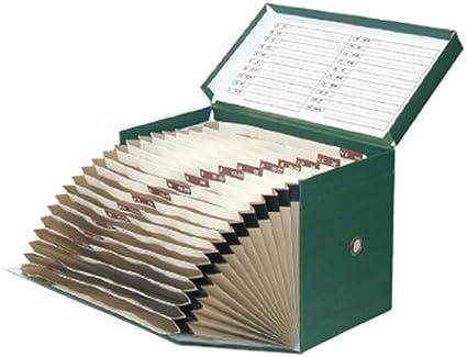 Elba 100580266 - Caja de transferencia de cartón forrado con tela, 20 cm, color verde: Amazon.es: Oficina y papelería