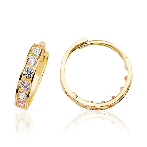 - Jewel Connection Gorgeous White and Pink CZ Huggie Hoop Earrings in 14K Yellow Gold for Women and Girls