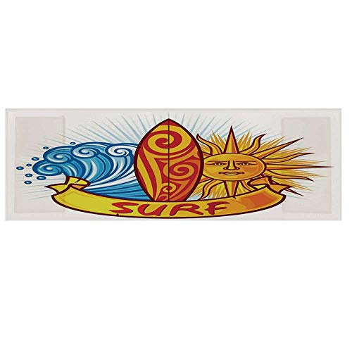 """(Surf Cotton & Linen Microwave Oven Protective Cover,Surf Design Sun and Ocean Waves Polynesian Culture Natural Sports Graffiti Print Cover for Kitchen,36""""L x 12""""W)"""