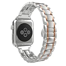 For Apple Watch Band,DDLBiz 38mm Stainless Steel Strap Wrist Band Replacement w/ Metal Clasp for Apple Watch All Models 38mm (Rose Gold )