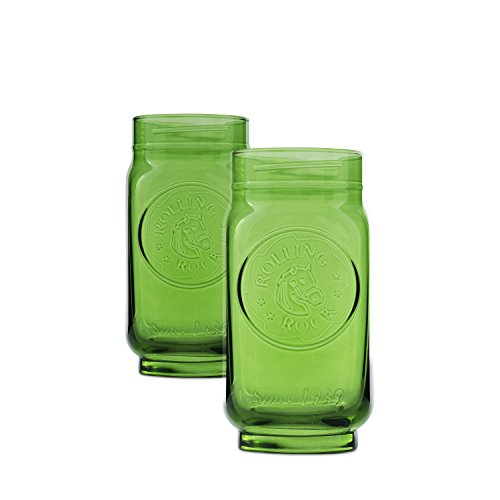 Boelter Brands Rolling Rock Jars, 16-Ounce, Green, 2-Pack