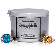 Destiny Candle by Karen Michelle Scented Massage Oil Jewelry Candle - Coconut Vanilla Aromatherapy Beautiful Piece of Jewelry Inside   A Perfect Way to Rekindle the Romance