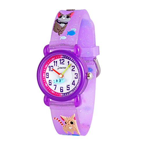 Price comparison product image Wolfteeth Little Girls Analog Wrist Watch Water Resistant School Day Christmmas Gift Sport Watch Unique TransparencyWatchband Purple Kitten 308402