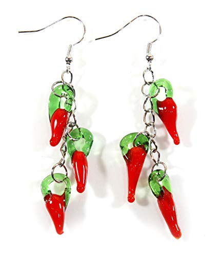 Style ARThouse Hank of Jalapenos Red Chili Pepper Lampwork Earrings, Dangle 2.5 Inches (Earrings Pepper)