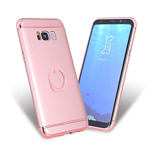 Samsung S8 case,All-Round Protection with Free Rotating Metal Ring Holder (Rose Gold)