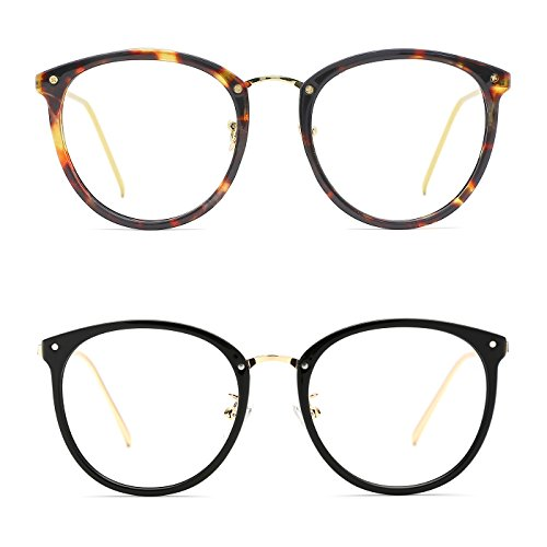 TIJN Vintage Optical Eyewear Non-prescription Eyeglasses Frame with Clear Lenses (I, - Round Face Have I A