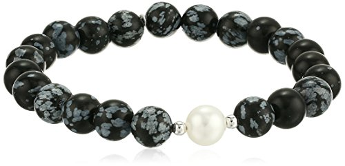 White Obsidian - Genuine Snowflake Obsidian with White Freshwater Cultured Pearl Accent Beaded Stretch Bracelet, 6.5