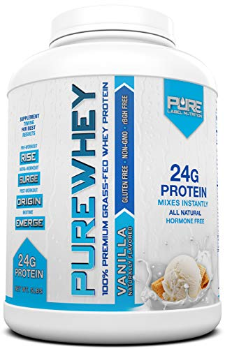 Grass Fed Whey Protein - 5lb Vanilla - 100% Natural, Cold Processed, Undenatured w/No Sweeteners or Added Sugars - rBGH Free, GMO-Free, Gluten Free, Preservative Free - Pure ()