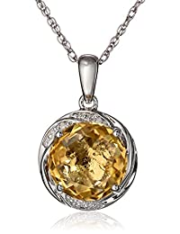 """Sterling Silver Gemstone and Diamond Accent Swirl Pendant Necklace, 18"""""""
