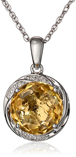 Swirl Necklace (Sterling Silver Citrine and Diamond Accent Swirl Pendant Necklace, 18