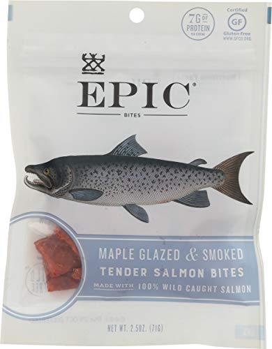 Smoked Salmon Jerky - Epic Jerky Bites, 100% Wild Caught, Maple Glazed & Smoked, Alaskan Salmon, Coconut Oil 2.5 oz. Pouch