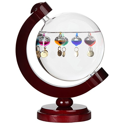 Lily's Home Round Galileo Thermometer, A Timeless Design that Measures Temperatures from 60ºF to 84ºF with a Beautiful Cherry Finished Wood Frame, 7 Multi-Colored Spheres (6 in x 8 in)