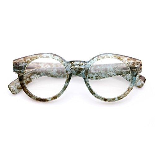 zeroUV - Retro Eyeglasses Small Keyhole Bold Frame Clear Lens Round Glasses (Blue)