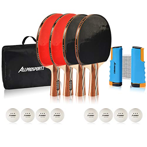 Allprosportz Ping Pong Paddle Set of 4 - Premium Table Tennis Racket Bundle Includes Paddles, 3-Star Ping Pong Balls, Ping Pong Net, and Portable Storage Bag Case