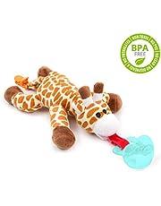 MMBABY Sucette avec animal en peluche qui couine, jouet doux pour bébé avec tututte détachable & attache à clipper. Attache anneau de dentition
