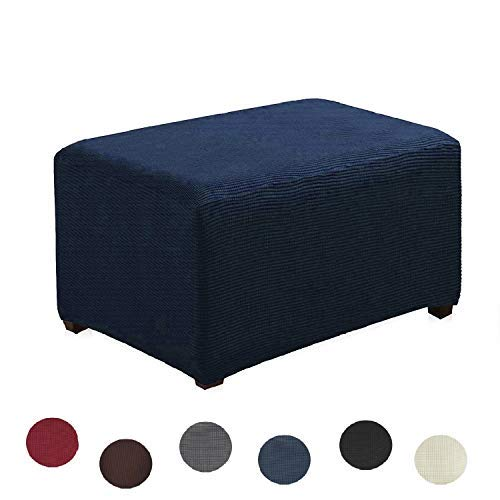 Argstar Jacquard Ottoman Cover Fleece Protector Slipcover Elastic Navy Blue for Sofa Sets