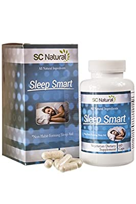 Sleep Smart Natural Sleep Aid - 100% natural ingredients and non-habit forming sleeping aid for a restful natural sleep every night - 60 capsules. Suitable for Vegans