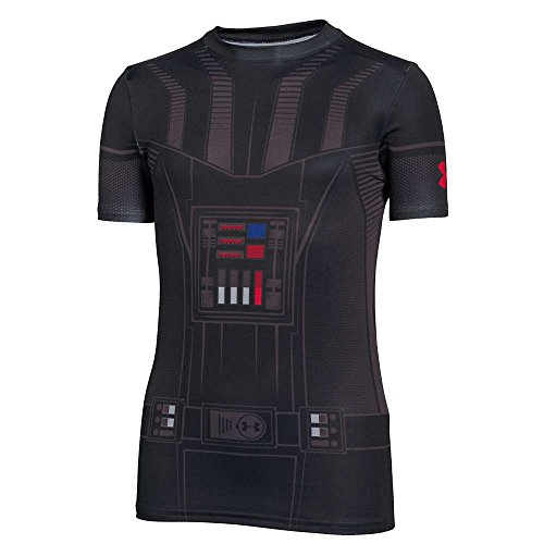 Under Armour Kids Boy's Darth Vader HeatGear Short Sleeve (Big Kids) Black/Graphite Shirt by Under Armour (Image #2)