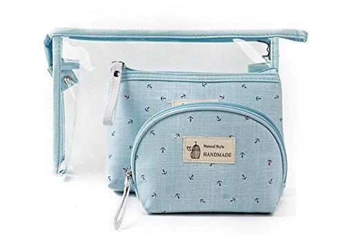 Vigourtrader 3 packs Cosmetic Bag Girls Travel Clear Toiletr