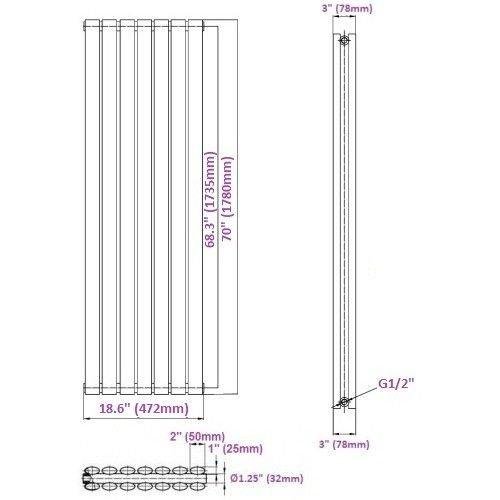 New Revive Luxury White Vertical Double Designer Radiator Heater Steel Hydronic Warmer - 70'' x 18.6'' - Chrome Angled Valves & Wall Fixing Brackets Included by Hudson Reed (Image #4)