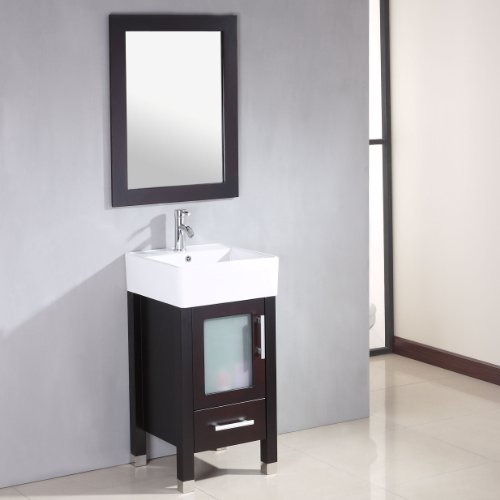 18 Inch Espresso Wood & Porcelain Bathroom Vanity Set- ''Stone'' (Chrome Faucet) by The Tub Connection