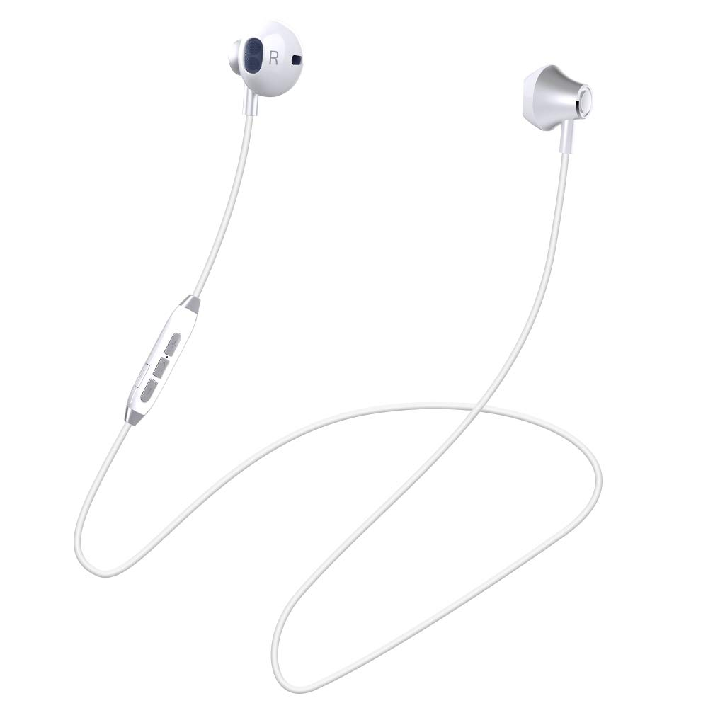 Bluetooth Headphones Wireless V4.1 Magnetic Stereo Earphones Suitable for Samsung Galaxy S9 IPX4 Splash Proof Noise Reduction with HD Mic for Running and Sport White