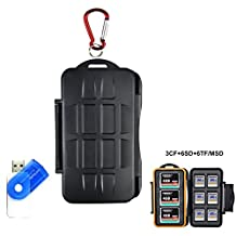 LXH 15 Slots Anti-shock Waterproof Memory Card Case Holder,Resistant & Shockproof Hard Storage Case for SD card /CF( Compact Flash ) cards/ MicroSD cards with Carabiner & Card Reader