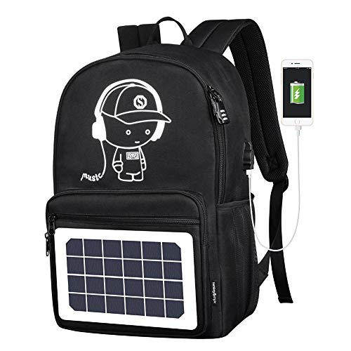 Womdee Solar Powered Laptop Backpack, Waterproof Luminous Reflective Strip Backpack with Solar Panel, Travelling Bagpacks with USB Charger Port, Free Anti-Theft Lock & USB Cable Gift ()
