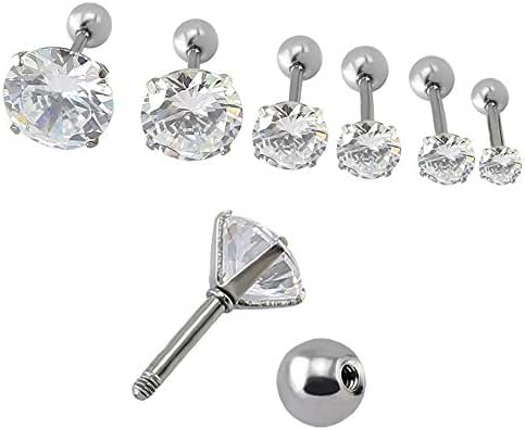 16g Round Clear CZ Prong cartilage earring stud earrings helix conch tragus ear piercing 3-9mm 6 Pairs