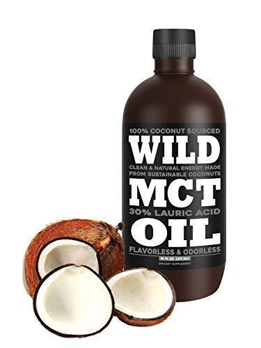 Wild MCT Oil with Lauric Acid Made From 100% Sustainable Coconuts, Flavorless, Odorless, Supplement, 16oz BPA-FREE Bottle, Non-GMO, Guaranteed Premium Quality and Sourcing