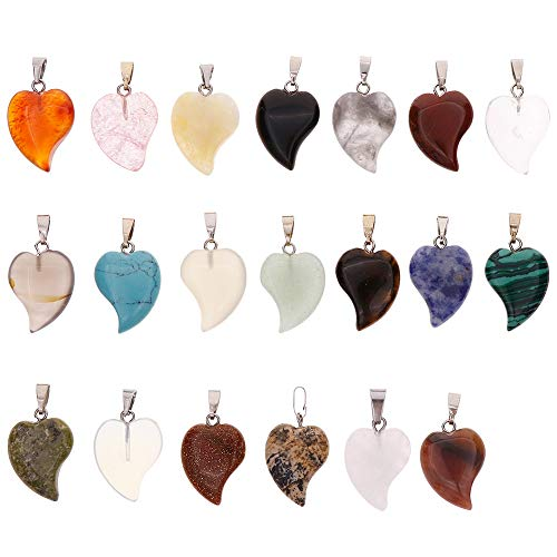 Keyzone Wholesale 20 Pieces Heart Stone Pendants Crystal Chakra Beads for DIY Necklace Earrings Jewelry Making, Assorted Color]()