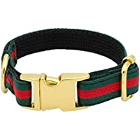 Green and Red Stripe Designer Cat Collar Adjustable with Gold Metal Hardware, Luxury Fashion Kitten Collars