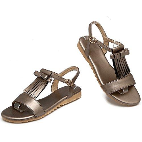 COOLCEPT Mujer Moda Correa en T Sandalias Plano Punta Abierta Slingback Zapatos con Bowknot Gris