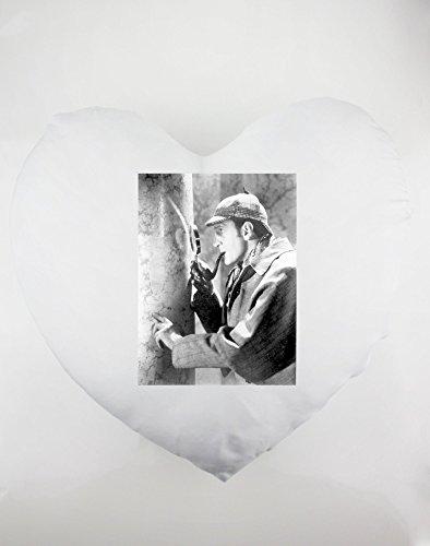 Heartshaped pillow with Basil Rathbone as Sherlock Holmes.