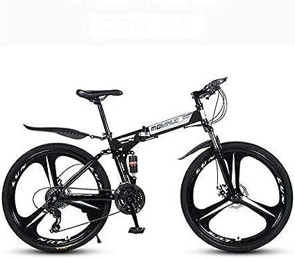 Ligero, Bicicleta de montaña for adultos, Marco de bicicletas plegables de acero al carbono de alta, completa Bicicletas MTB Suspension, doble freno de disco, PVC Pedales Liquidación de inventario